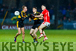 Paudie Clifford, East Kerry Fionn Fitzgerald and Gavin White, Dr Crokes  during the Kerry County Senior Club Football Championship Final match between East Kerry and Dr. Crokes at Austin Stack Park in Tralee, Kerry.