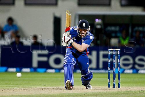 12.02.2013. Hamilton, New Zealand.  England's Eoin Morgan batting.  ANZ T20 series. 2nd Twenty20 Cricket international.  New Zealand Black Caps vs England at Seddon Park, Hamilton, New Zealand.