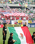 24 June 2007:  US fans fly the US flag in the stands, as the Mexico flag is displayed on the field, pregame. The United States Men's National Team defeated the national team of Mexico 2-1 in the CONCACAF Gold Cup Final at Soldier Field in Chicago, Illinois.