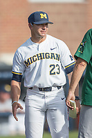 Michigan Wolverines head coach Erik Bakich (23) before the NCAA baseball game the Eastern Michigan Eagles on May 16, 2017 at Ray Fisher Stadium in Ann Arbor, Michigan. Michigan defeated Eastern Michigan 12-4. (Andrew Woolley/Four Seam Images)