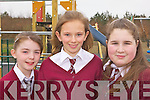 PLAY: At the opening of the new Lyreacrompane playground on Friday morning were l-r: Rachel Murphy, Aisling Keane, Michaela Lenihan.