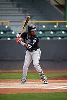 Lansing Lugnuts third baseman Vladimir Guerrero Jr. (27) at bat during a game against the Clinton LumberKings on May 9, 2017 at Ashford University Field in Clinton, Iowa.  Lansing defeated Clinton 11-6.  (Mike Janes/Four Seam Images)
