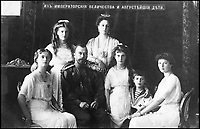 BNPS.co.uk (01202 558833)Pic: IanShapiro/BNPS<br /> <br /> The Imperial family, 1913.<br /> <br /> Seated: Grand Duchess Olga, Nicholas II, Grand Duchess Anastasia, Tsarevich Alexei, Grand Duchess Tatiana.<br /> Behind: Grand Duchess Maria, Empress Alexandra.<br /> <br /> A Russian Grand Duke branded King George V a 'scoundrel' who 'did not lift a finger' to save the Romanov family in the revolution there of 1917, explosive diaries have revealed.<br /> <br /> The cousin of the overthrown Russian Royal family blamed the British King for their executions because he failed to grant them refuge.<br />  <br /> Dmitri Pavlovich no-holds-barred diary extracts have been published for the first time in a new book by respected historian Coryne Hall, To Free The Romanovs.