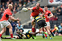 Schalk Burger of Saracens offloads the ball after being tackled. Aviva Premiership match, between Northampton Saints and Saracens on April 16, 2017 at Stadium mk in Milton Keynes, England. Photo by: Patrick Khachfe / JMP