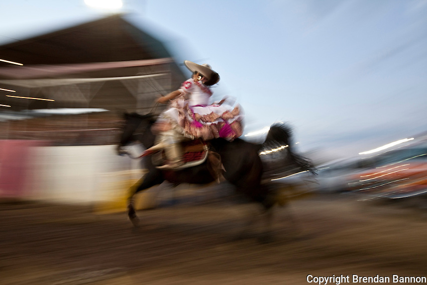 Escaramuza Las Gazelas, a group of women side saddle horse riders at the Kern County Fair.
