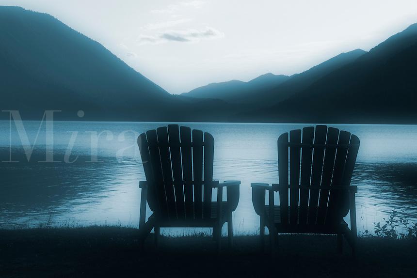 Adirondack chairs on shore of lake, Lake Crescent Lodge, Olympic National Park, Olympic Peninsula, Clallam County, Washington, USA
