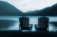 Adirondack chairs on shore of lake, Lake Crescent Lodge, Olympic National Park, Olympic Peninsula, Clallam County, Washington, USA