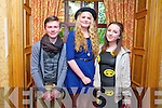 Leo Byrne, Anna O'Connor and Suin Moriarty at the Gaelscoil Chiarrai Fashion Show at the Meadowlands on Thursday