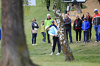 Julian Suri (USA) plays his 2nd shot from the trees on the 9th hole during Sunday's Final Round of the 2017 Omega European Masters held at Golf Club Crans-Sur-Sierre, Crans Montana, Switzerland. 10th September 2017.<br /> Picture: Eoin Clarke | Golffile<br /> <br /> <br /> All photos usage must carry mandatory copyright credit (&copy; Golffile | Eoin Clarke)