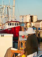 Plein air artist, Provincetown, McMillan Warf, Provincetown, Cape Cod, MA