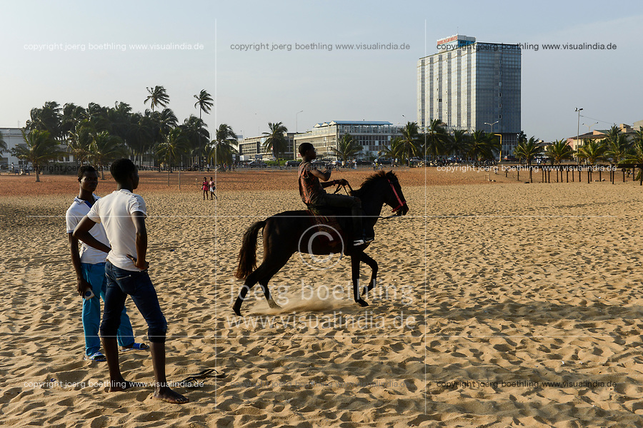 TOGO, Lome, abandoned Hotel Palm Beach, beach and sea shore atlantic ocean, beach horse riding /  Strand am Atlantik, Strandpferde