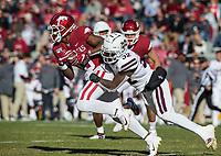 NWA Democrat-Gazette/BEN GOFF @NWABENGOFF<br /> Brian Cole II, Mississippi State star, tackles Tyson Morris, Arkansas wide receiver, after a catch in the second quarter Saturday, Nov. 2, 2019, at Reynolds Razorback Stadium in Fayetteville.