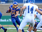 BROOKINGS, SD - SEPTEMBER 10:  Brady Mengarelli #44 from South Dakota State looks for room against Drake during their game at the Dana J. Dykhouse Stadium Saturday night in Brookings. (Photo by Dave Eggen/Inertia)
