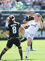 24 May 2009: Liz Bogus of the Los Angeles Sol tries to control a ball away from Tiffany Weimer of the FC Gold Pride during the game at Buck Shaw Stadium in Santa Clara, California.  Los Angeles Sol defeated FC Gold Pride, 2-0.
