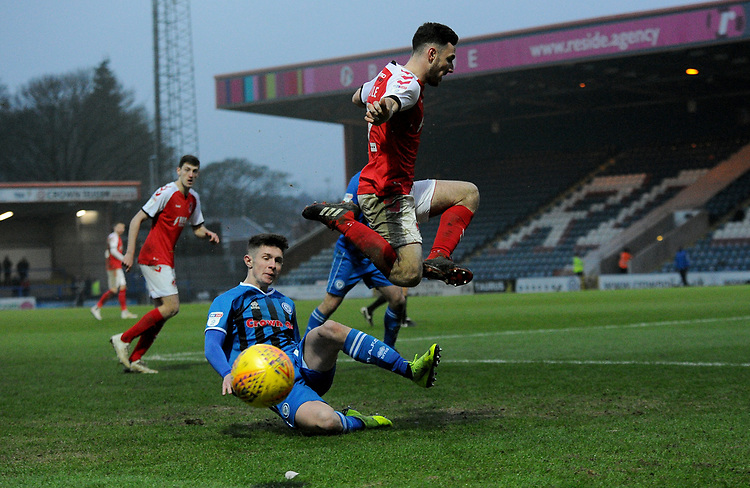 Rochdale's Ian Henderson battles with Fleetwood Town's Lewis Coyle<br /> <br /> Photographer Hannah Fountain/CameraSport<br /> <br /> The EFL Sky Bet League One - Rochdale v Fleetwood Town - Saturday 19 January 2019 - Spotland Stadium - Rochdale<br /> <br /> World Copyright &copy; 2019 CameraSport. All rights reserved. 43 Linden Ave. Countesthorpe. Leicester. England. LE8 5PG - Tel: +44 (0) 116 277 4147 - admin@camerasport.com - www.camerasport.com
