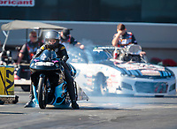 Oct 14, 2019; Concord, NC, USA; NHRA pro stock motorcycle rider Jianna Salinas during the Carolina Nationals at zMax Dragway. Mandatory Credit: Mark J. Rebilas-USA TODAY Sports