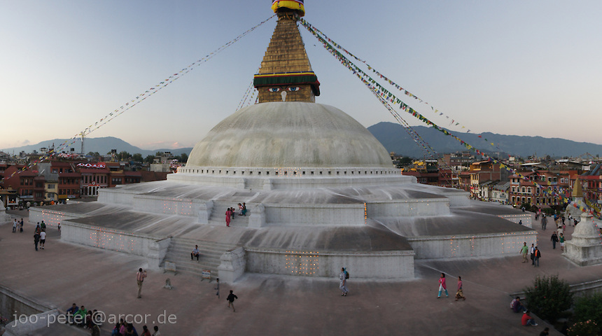 - Boudhanath near Kathmandu is one of the most holy places of buddhist worship and pilgrimage. The ancient Stupa is one of the largest in the world.