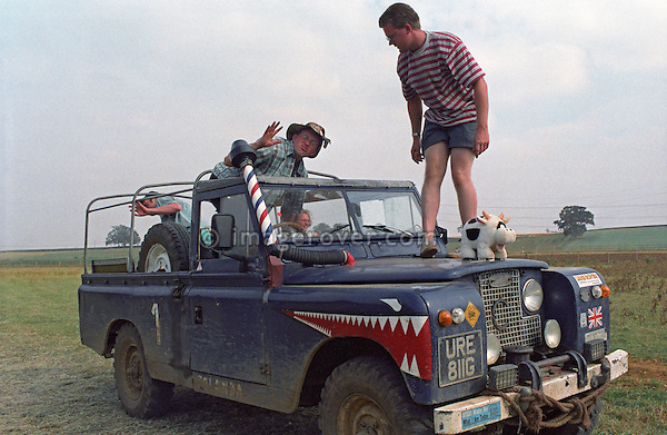 A friends trip using a soft top Series 2a Land Rover with painted on shark teeth. --- No releases available. Automotive trademarks are the property of the trademark holder, authorization may be needed for some uses.