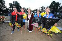 FIERLJEPPEN: IT HEIDENSKIP: Fierljepforiening It Heidenskip, 26-07-2014, NFM (Nationale Fierljep Manifestatie), De Hollanders waren met drie winnaars Friesland de baas, Jaco de Groot ljepte 20.38m, nummer twee Oane Galama 19.83, Dymphie van Rooijen sprong 15.98m, Wendy Helmes 15.96m en Anna Jet Leijenaar 15.26m, bij de junioaren kwam de top drie uit Holland met Erwin Timmerarends als beste 18.80m,  Jan Teade Nauta redde de Friese eer bij de jonges met 17.88m, ©foto Martin de Jong