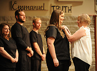 NWA Democrat-Gazette/ANDY SHUPE<br /> Photos Thursday, Aug. 10, 2017,  during a pinning ceremony for the Track 2 nursing students of the Northwest Arkansas Community College Associate Degree Nursing Program at Southside Church of Christ in Rogers. The college graduated 26 students during the program.