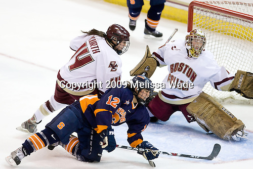 Katelyn Kurth (BC - 14), Julie Rising (Syracuse - 12), Corinne Boyles (BC - 29) - The Syracuse University Orange tied the Boston College Eagles 3-3 on Friday, October 9, 2009, at Conte Forum in Chestnut Hill, Massachusetts.