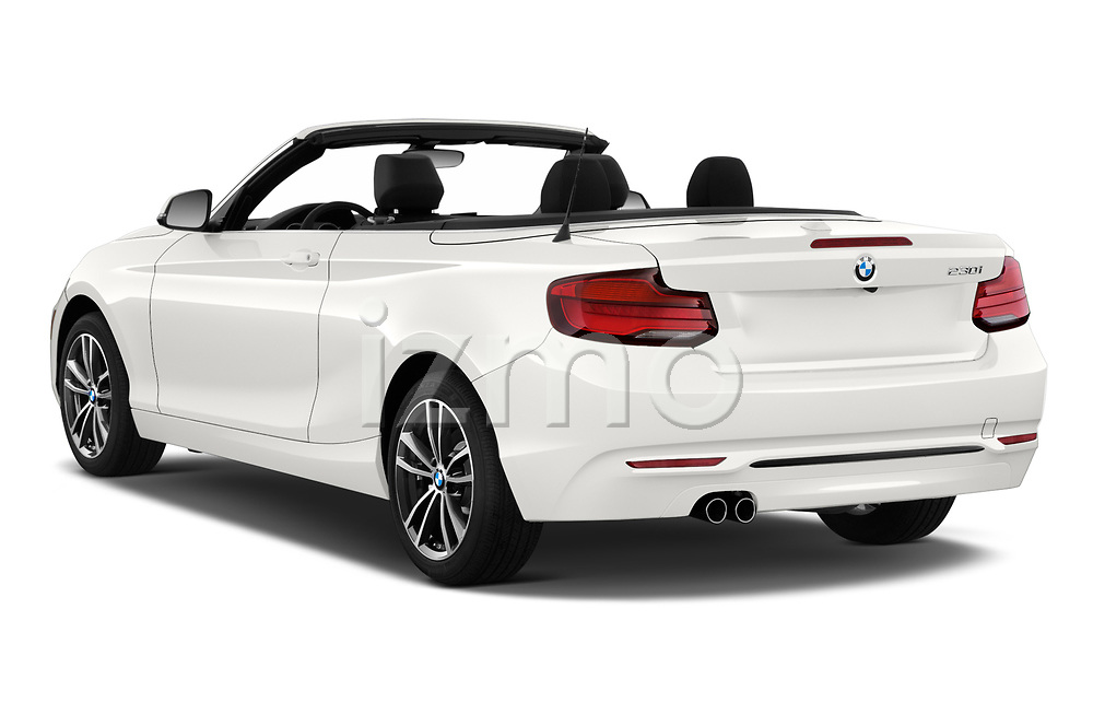 Car pictures of rear three quarter view of a 2018 BMW 2 Series 230i Sport Line 2 Door Convertible angular rear