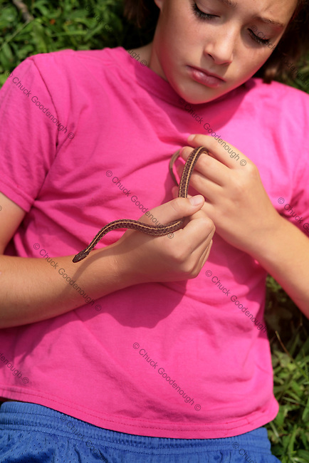 Young Girl and her Pet Garter Snake
