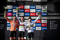 Elite Women Road Race podium:<br /> 1/ Annemiek van Vleuten (NED/Mitchelton-Scott)<br /> 2/ Anna van der Breggen (NED/Boels-Dolmans)<br /> 3/ Amanda Spratt (AUS/Mitchelton-Scott)<br /> <br /> from Bradford to Harrogate (149km)<br /> 2019 Road World Championships Yorkshire (GBR)<br /> <br /> ©kramon