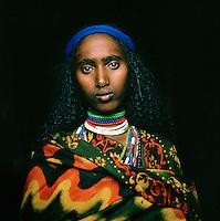 Portrait of Hamer tribeswoman, Turmi, Lower Omo Valley, Ethiopia