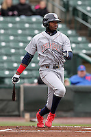 Lehigh Valley IronPigs outfielder Domonic Brown #9 at bat during a game against the Rochester Red Wings at Frontier Field on April 22, 2012 in Rochester, New York.  Rochester defeated Lehigh Valley 3-2.  (Mike Janes/Four Seam Images)