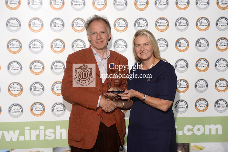 Fintan Fogarty, Wildwood Vinegars, Mayo with Birgitta Curtin, Blas na hEireann at the Blas na hEireann / Irish Food Awards in Dingle at the weekend.<br /> Photo: Don MacMonagle<br /> <br /> REPRO FREE PHOTO WITH BLAS NA HEIREANN<br /> further info: Barbara Collins - collib40@googlemail.com