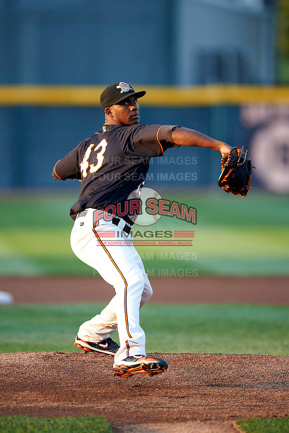 Erie Seawolves pitcher Ramon Garcia #43 during an Eastern League game against the Altoona Curve at Jerry Uht Park on August 31, 2012 in Erie, Pennsylvania.  Altoona defeated Erie 4-3.  (Mike Janes/Four Seam Images)