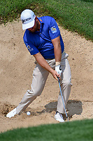 Graeme McDowell (NIR) hits from the trap on 18 during day 3 of the Valero Texas Open, at the TPC San Antonio Oaks Course, San Antonio, Texas, USA. 4/6/2019.<br /> Picture: Golffile | Ken Murray<br /> <br /> <br /> All photo usage must carry mandatory copyright credit (&copy; Golffile | Ken Murray)