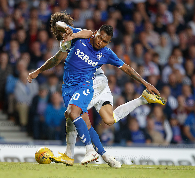 09.08.18 Rangers v Maribor: Alfredo Morelos takes an elbow in the face