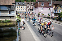 yellow jersey / GC leader Giulio Ciccone (ITA/Trek-Segafredo) in the peloton<br /> <br /> Stage 7: Belfort to Chalon-sur-Saône (230km)<br /> 106th Tour de France 2019 (2.UWT)<br /> <br /> ©kramon