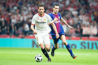 Sevilla FC Franco Damian and FC Barcelona Sergio Busquets during King's Cup Finals match between Sevilla FC and FC Barcelona at Wanda Metropolitano in Madrid, Spain. April 21, 2018. (ALTERPHOTOS/Borja B.Hojas)