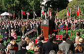 President Jiang Zemin, right, of China delivers remarks during the State Arrival ceremony in his honor at The White House in Washington, D.C. on October 29, 1997 as United States President Bill Clinton, left, looks on..Credit: Ron Sachs / CNP