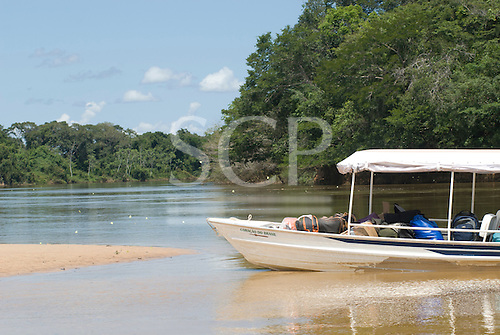 Xingu Indigenous Park, Mato Grosso State, Brazil. The 'Coração do Brasil' voadeira aluminium boat of the Heart of Brazil Expedition.