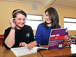 8-6-2012: Danielle Doyle, Beaufort, left and Caitriona Dennehy, Fossa, Kilalrney,  Leaving cert students from Miltown Presentation Secondary School in County Kerry going over some last minute revision ahead of the Maths paper on Friday.<br /> Picture by Don MacMonagle