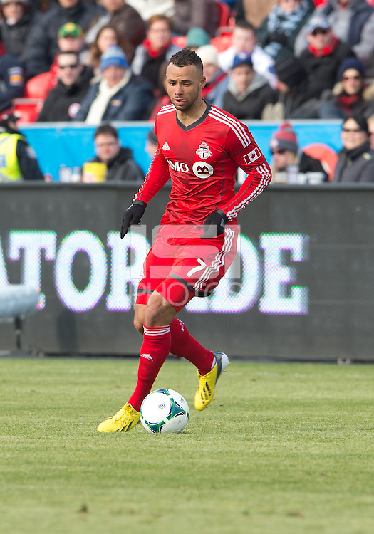 06 April 2013: Toronto FC midfielder John Bostock #7 in action during an MLS game between FC Dallas and Toronto FC at BMO Field in Toronto, Ontario Canada..The game ended in a 2-2 draw..