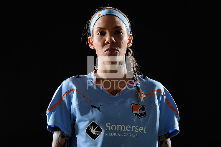 Natasha Kai of Sky Blue FC during a Women's Professional Soccer photo shoot in Brooklyn, New York on February 17, 2010.