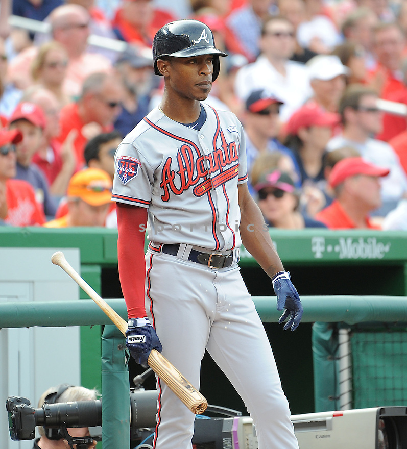 Atlanta Braves BJ Upton (2) during a game against the Washington Nationals on September 10, 2014 at Nationals Park in Washington DC. The Braves beat the Nationals 6-2.