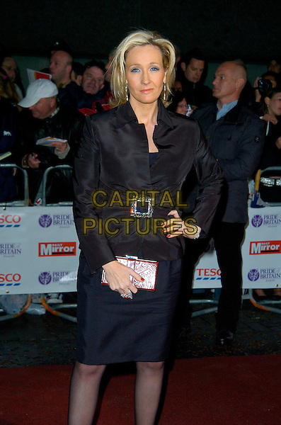 JK ROWLING.Pride of Britain Awards, The London Studios.9th October 2007 London, England.3/4 half length black dress diamante buckle hand on hip clutch purse j.k. joanne .CAP/CAN.©Can Nguyen/Capital Pictures