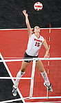 MADISON, WI - NOVEMBER 17: Audra Jeffers (15) of the Wisconsin Badgers volleyball team against the Iowa Hawkeyes on November 17, 2006 in Madison, Wisconsin. (Photo by David Stluka)