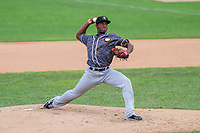 Quad Cities River Bandits pitcher Ronel Blanco (50) during a Midwest League game against the Beloit Snappers on June 18, 2017 at Pohlman Field in Beloit, Wisconsin.  Quad Cities defeated Beloit 5-3. (Brad Krause/Krause Sports Photography)