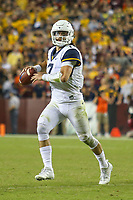 Landover, MD - September 3, 2017: West Virginia Mountaineers quarterback Will Grier (7) in action during game between Virginia Tech and WVA at  FedEx Field in Landover, MD.  (Photo by Elliott Brown/Media Images International)
