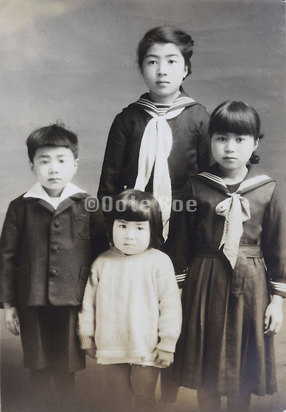 Japanese children in school uniform 1949