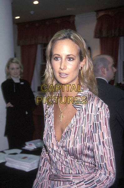 LADY VICTORIA HERVEY .22 October 2001.portrait headshot multi coloured purple wrap shirt dress gold cross necklace.ref:11159.www.capitalpictures.com.sales@capitalpictures.com.©Capital Pictures