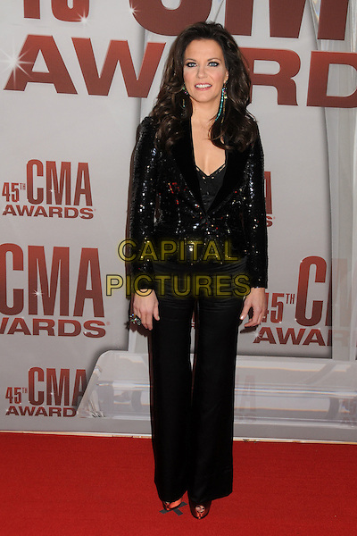 Martina McBride.The 45th Annual CMA Awards, Country Music's Biggest Night, held at Bridgestone Arena, Nashville, Tennessee, USA..November 9th, 2011.full length black trousers jacket sequins sequined .CAP/ADM/BP.©Byron Purvis/AdMedia/Capital Pictures.