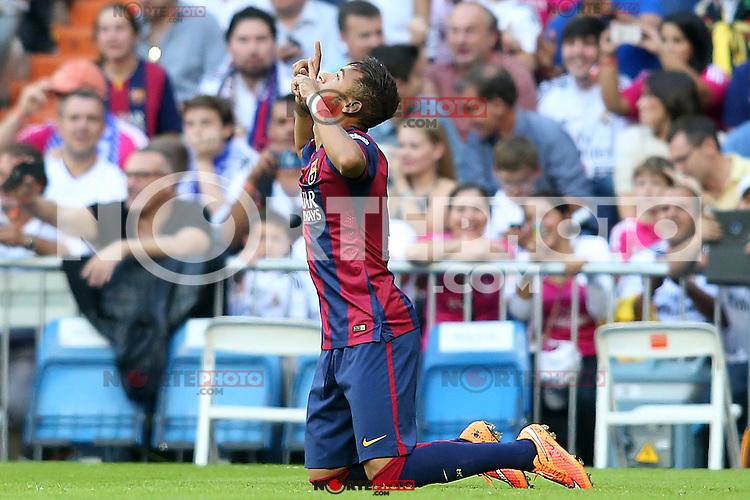 FC Barcelona's Neymar Santos Jr celebrates goal during La Liga match.October 25,2014. (ALTERPHOTOS/Acero) /nortephoto.com